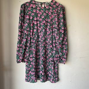 Zara floral pink green long sleeve mini dress nwt